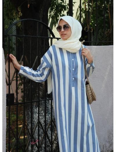 Oversize Pamuklu Çizgili Elbise