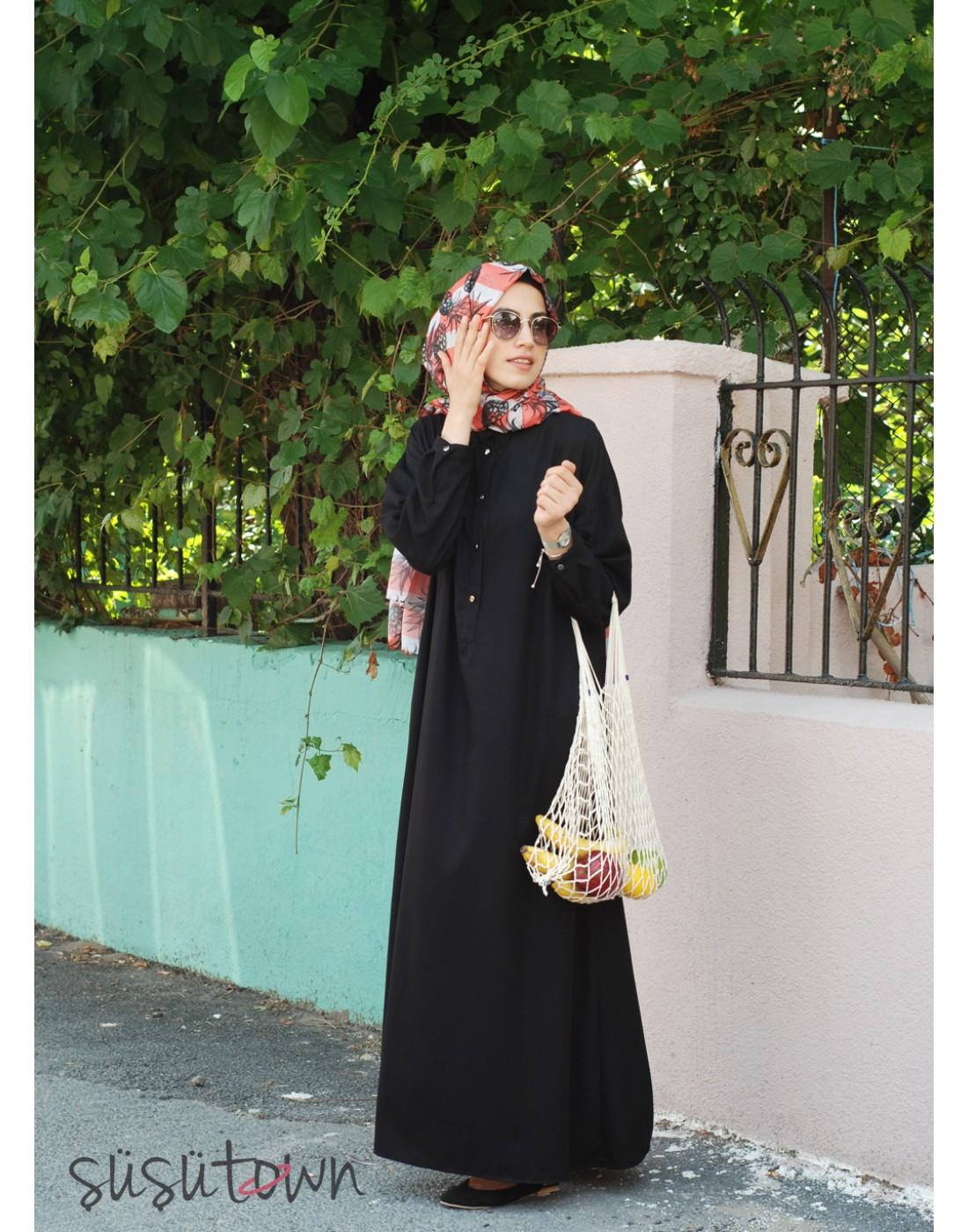 Oversize Pamuklu Siyah Elbise