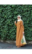 Oversize Pamuklu Taba Elbise