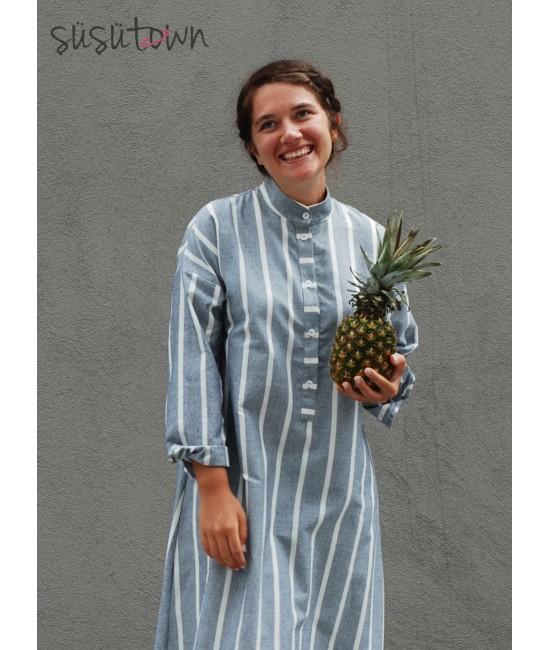 Oversize Çizgili Elbise