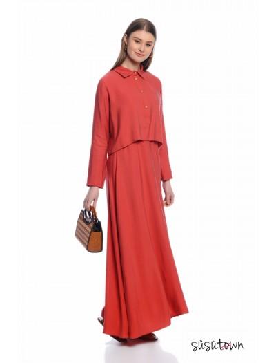 Gömlekli Jile Elbise Kırmızı
