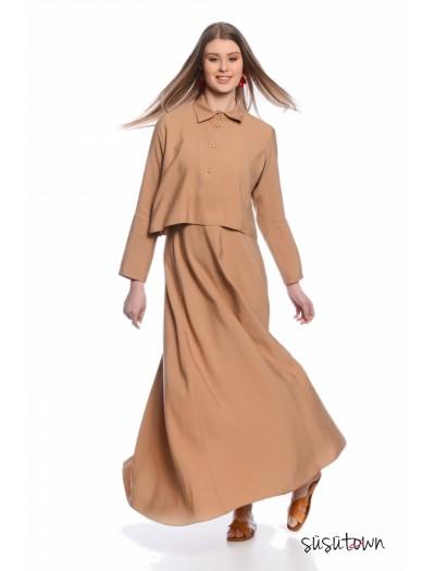 Gömlekli Jile Elbise Bej