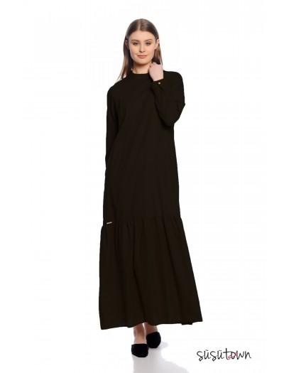 Keten Büzgü Elbise Siyah