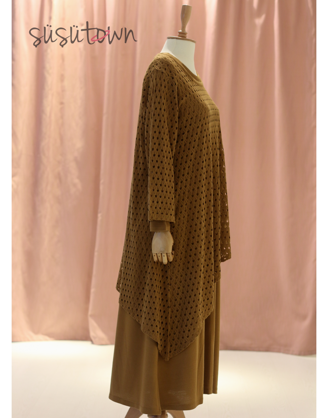 Triko Elbise İkili Takım Taba