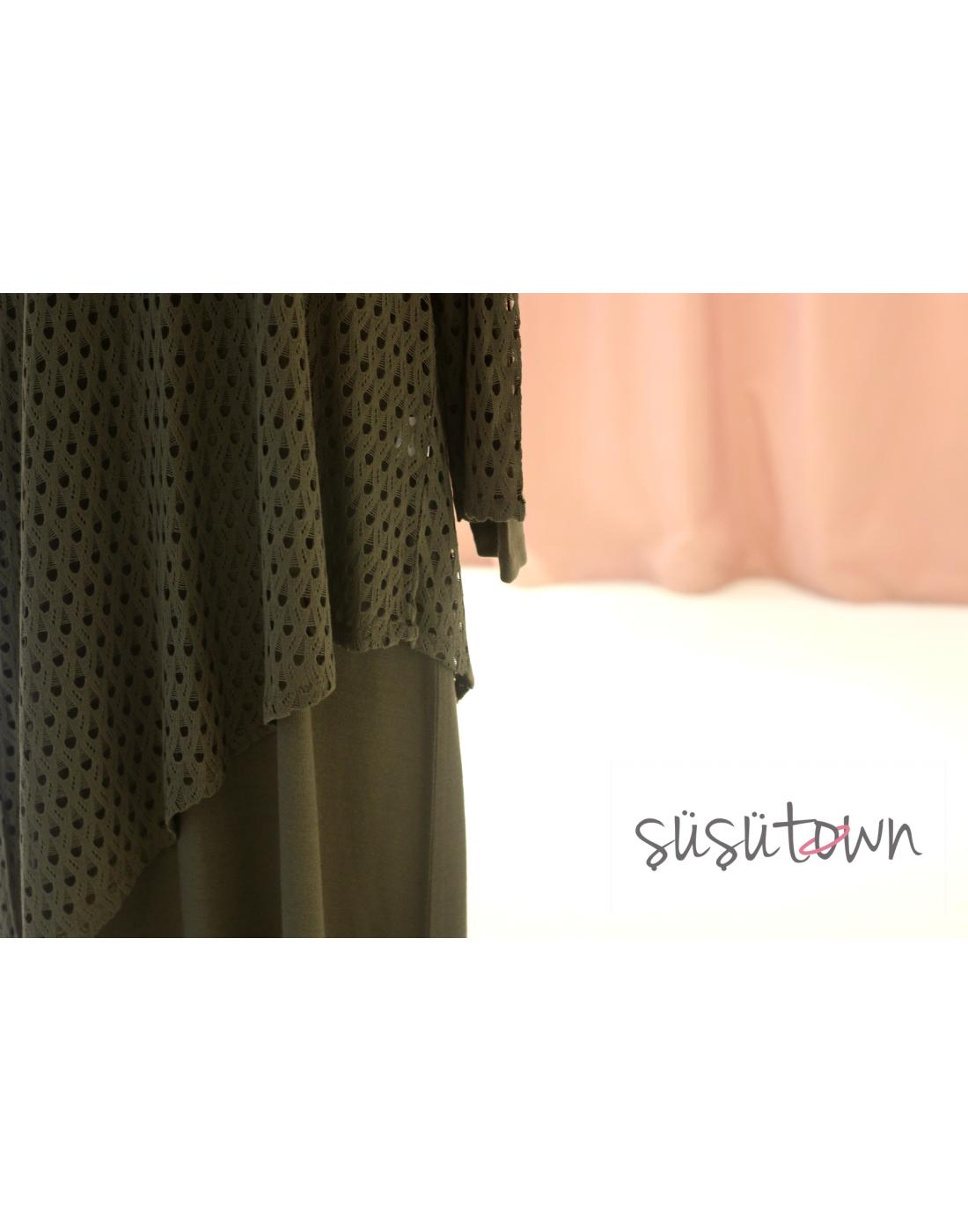 Triko Elbise İkili Takım Haki