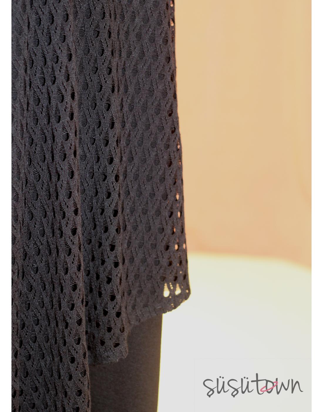 Triko Elbise İkili Takım Siyah