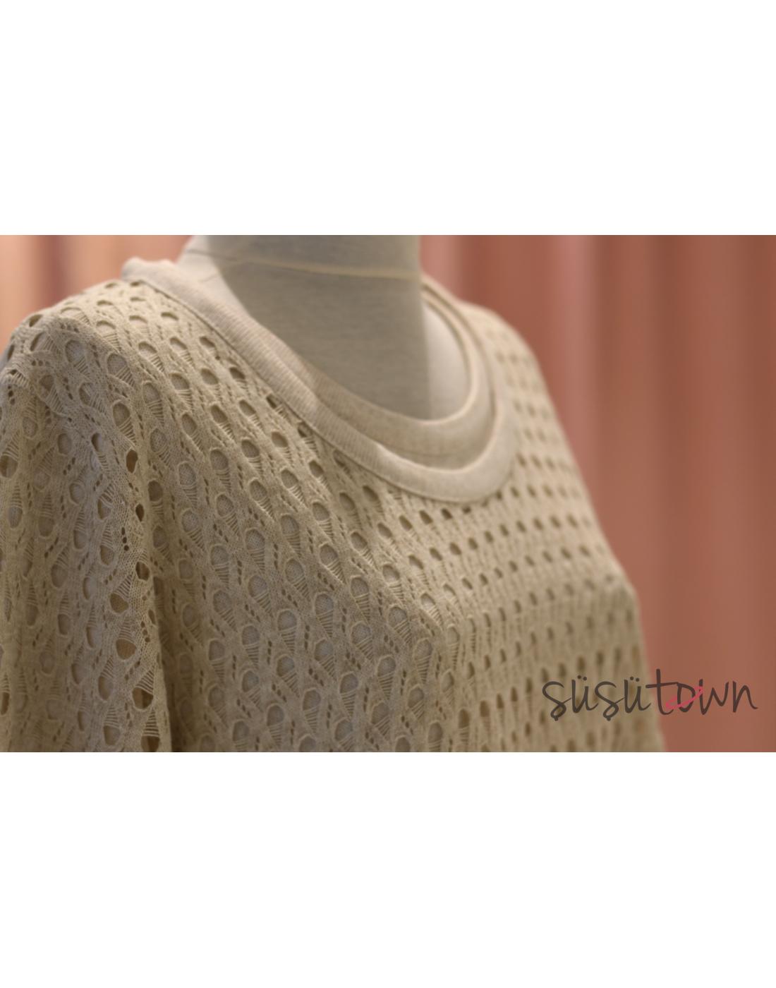 Triko Elbise İkili Takım Ekru