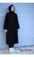 Ovy Oversize Siyah Kaban - Standart Beden