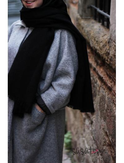 Kışlık Yün Şal Siyah
