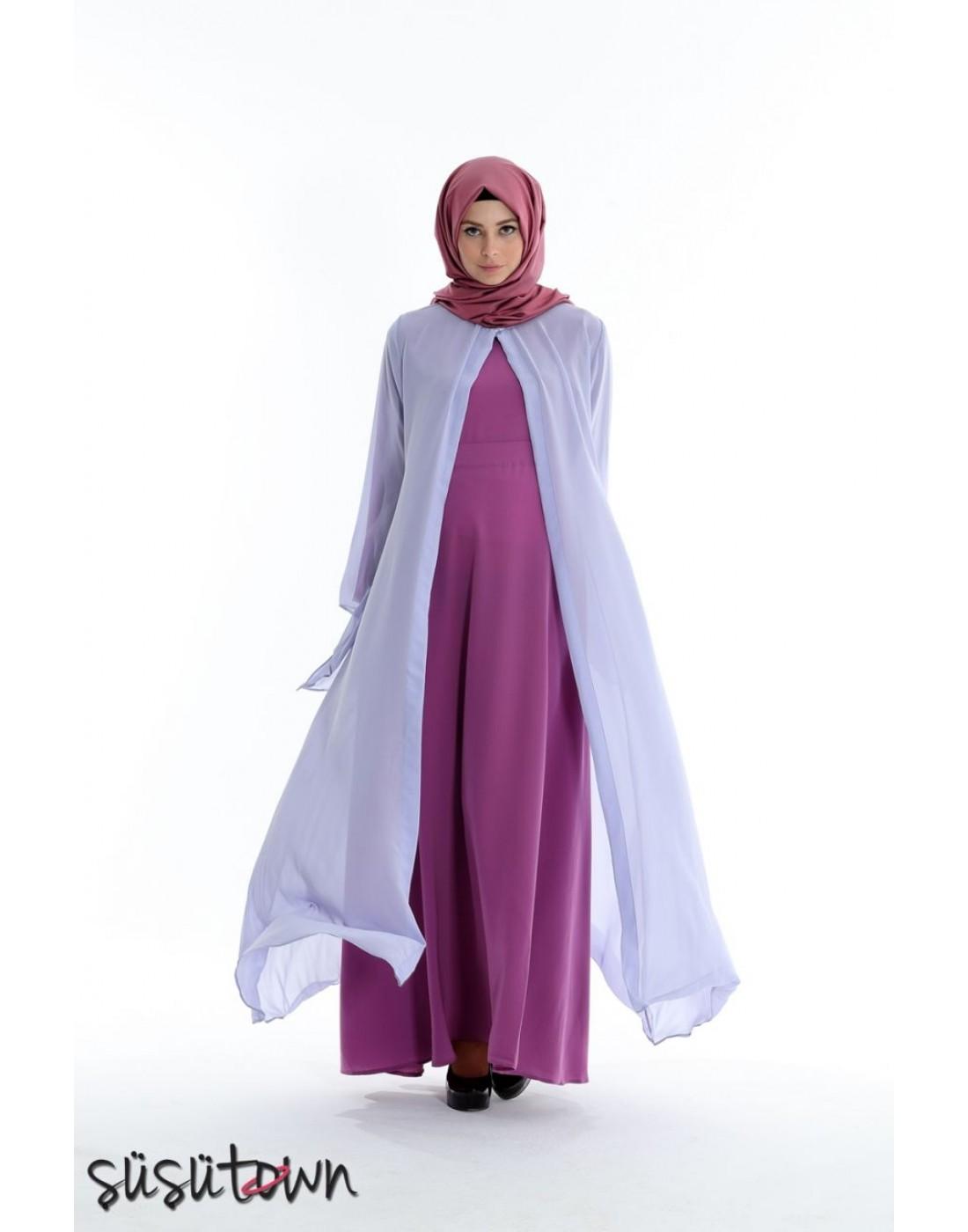 Kaftanlı Elbise Eflatun