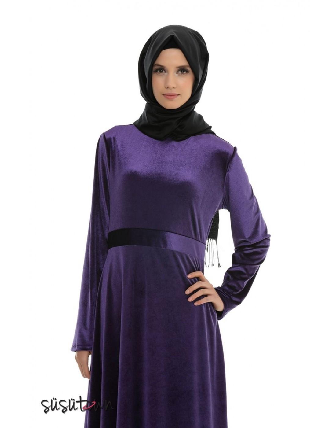 Burçak Mor Kadife Elbise
