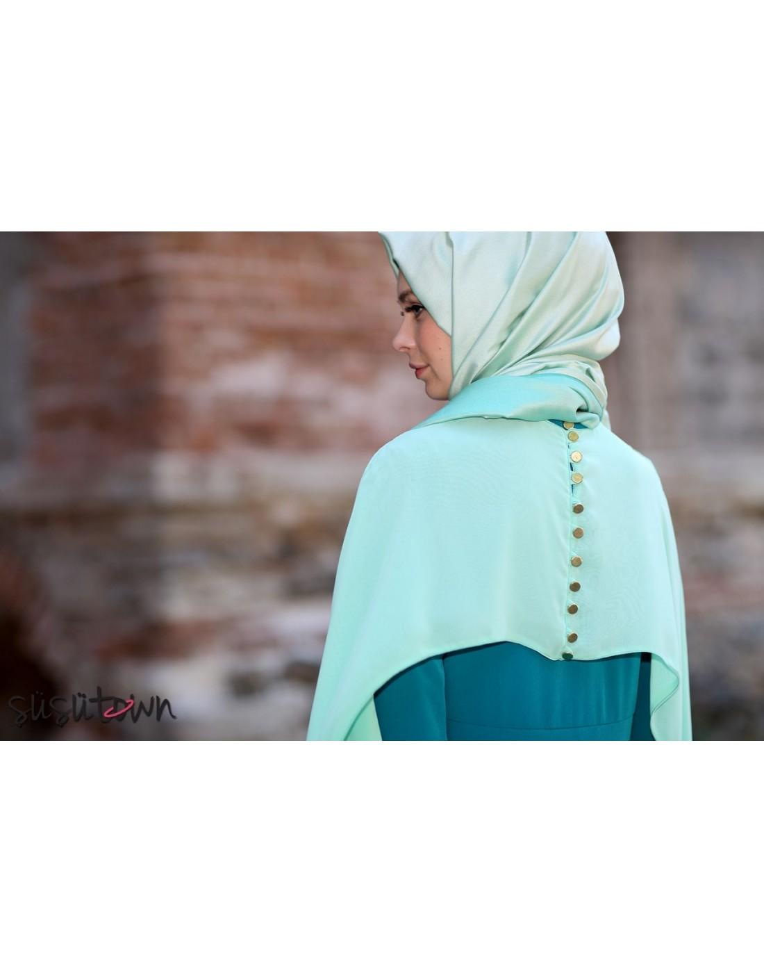 Pelerinli Elbise Yeşil