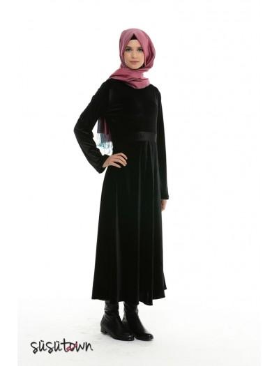 Burçak Siyah Kadife Elbise