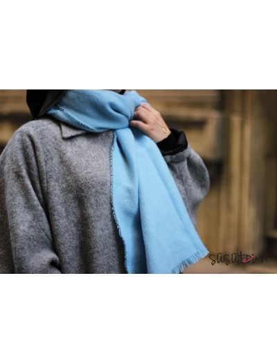 Kışlık Yün Şal Mavi