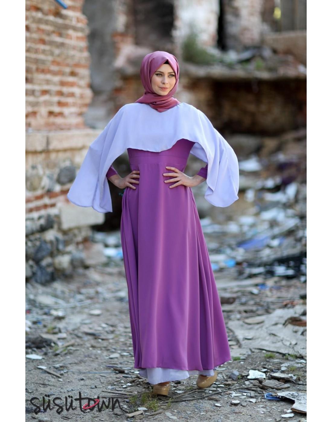 Pelerinli Elbise Eflatun