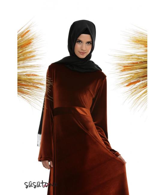 Burçak Bakır Kadife Elbise