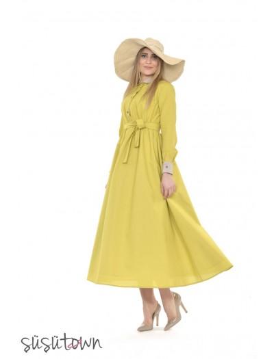 Keten Elbise Sarı