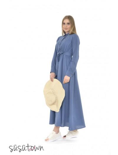 Keten Elbise Mavi
