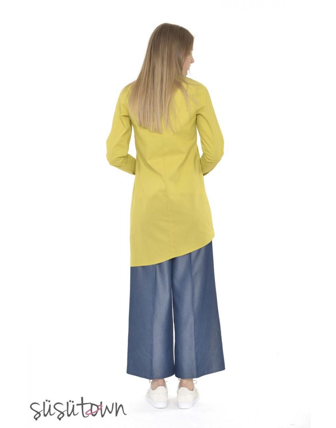 Keten Asimetrik Tunik Sarı
